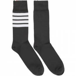 Thom Browne Grey Mid-Calf 4-Bar Socks MAS023B-01690