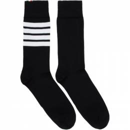 Thom Browne Black 4-Bar Mid-Calf Socks MAS023B-01690