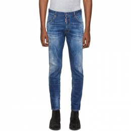Dsquared2 Blue Distressed Skater Jeans 192148M18600609GB
