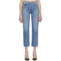 Re/Done Blue Originals High-Rise Stove Pipe Jeans 192800F06901801GB