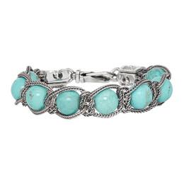 Emanuele Bicocchi Silver and Blue Beaded Bracelet 192883M14203003GB