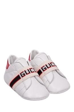 Белые кроссовки с отделкой Gucci Kids 1256134340