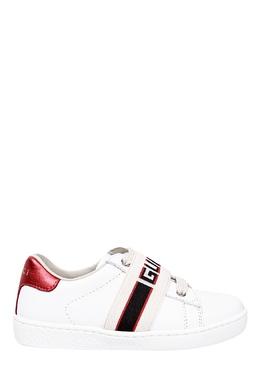 Белые кеды с эластичной лентой Gucci Kids 1256134332