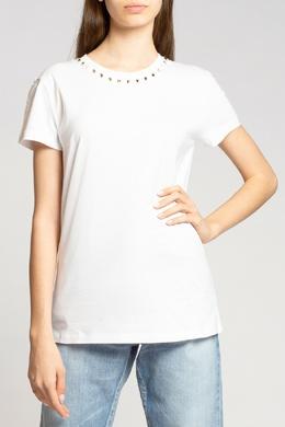 Белая футболка с шипами-пирамидками Valentino 210134467