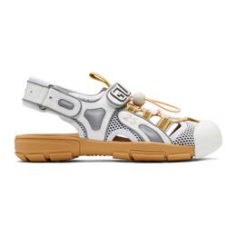 Gucci White Tinsel Sandals 563484 98D10