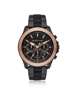 Theroux - Крупные Часы на Черном Силиконовом Ремешке Michael Kors MK8666