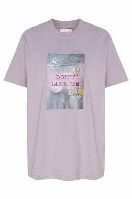 Серая футболка с принтом и надписью Natasha Zinko 1529135231