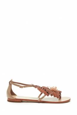 Коричневые сандалии с цветами Lola Cruz 1698135289