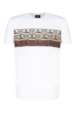 Хлопковая белая футболка с дизайнерским принтом Fendi 1632135234