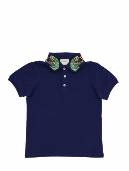 Embroidered Cotton Piqué Polo Shirt Gucci 69IFH9041-NDYyMg2
