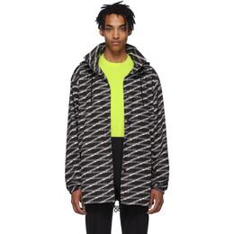 Balenciaga Black and Grey Monogram Raincoat 192342M18000103GB