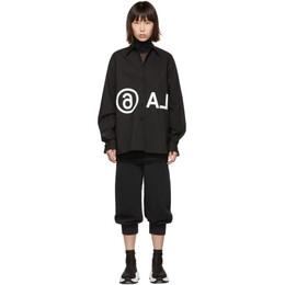 Mm6 Maison Margiela Black Oversized Reversed Logo Shirt 192188F10900403GB