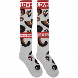 Charles Jeffrey Loverboy Grey and Brown Loverboy Monster Socks 192101F07600201GB