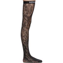 Versace Underwear Black Logo Band Lace Stockings 192653F07600101GB