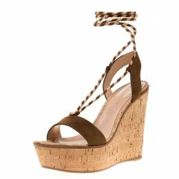 Gianvito Rossi Brown Suede Ankle Wrap Cork Wedge Sandals Size 38.5 192756
