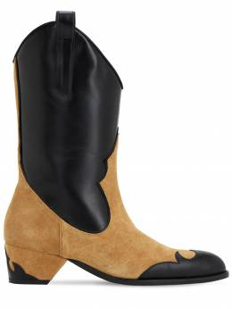 45mm Suede & Leather Cowboy Boots Manu Atelier 70IXAE001-VEVSUkEvQkxBQ0s1