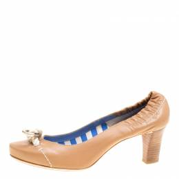 Celine Beige Leather Rope Detail Scrunch Pumps Size 39