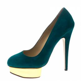Charlotte Olympia Teal Blue Suede Dolly Platform Pumps Size 40 155451