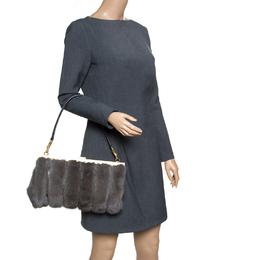 Dolce&Gabbana Dark Grey Mink Fur and Snakeskin Miss Sophia Clutch
