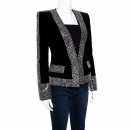 Balmain Black Crystal Embellished Velvet Tailored Power Shoulder Blazer M