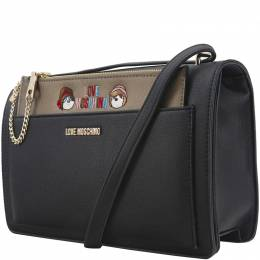 Love Moschino Black Faux Leather Flap Crossbody Bag 153700