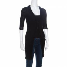 Chanel Black Rib Knit Ruffle Trim Long Cardigan S 151502