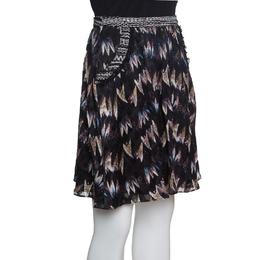 Diane Von Furstenburg Black Printed Silk Jacquard Gathered Marisa Skirt XS Diane Von Furstenberg