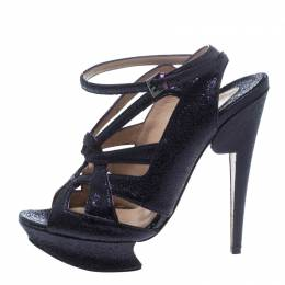 Nicholas Kirkwood Purple Ceramic Leather Ankle Straps Platform Sandals Size 39 153862