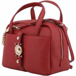 Versace Jeans Red Faux Pebbled Leather Satchel Bag 153672