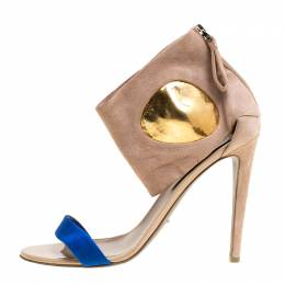 Sergio Rossi Beige Suede And Blue Satin Ankle Cuff Open Toe Sandals Size 39.5 152414