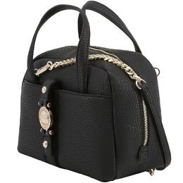Versace Jeans Black Faux Pebbled Leather Satchel Bag 153667