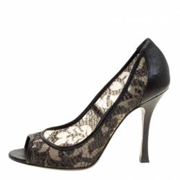 Sergio Rossi Black Lace And Leather Peep Toe Pumps Size 38.5