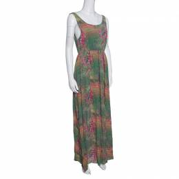 Alice + Olivia Green and Pink Floral Printed Silk Sleeveless Dress S