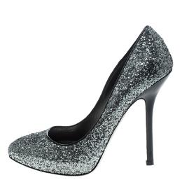 Miu Miu Metallic Silver Coarse Glitter Platform Pumps Size 39 151058