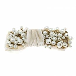 Dolce&Gabbana White Faux Pearl Embellished Cream Bow Brooch 151732