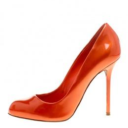 Sergio Rossi Orange Patent Leather Flamenco Pumps Size 38