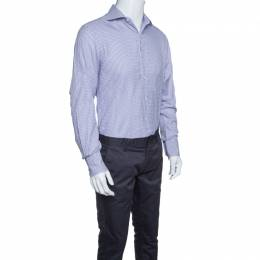 Tom Ford Purple and White Checkered Cotton Button Front Shirt L