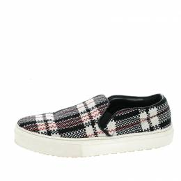 Celine Multicolor Checkered Print Canvas Skate Slip On Sneakers Size 37