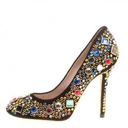 Miu Miu Black Suede Donna Multicolor Crystal Embellished Pumps Size 37 146295