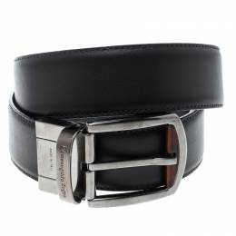 Ermenegildo Zegna Black Leather Belt 90cm 145486