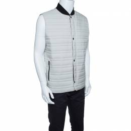 Z Zegna Thermore Beige Quilted Zip Front Sleeveless Jacket L