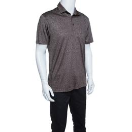 Ermenegildo Zegna Brown and White Silk Polo T-Shirt M 145604