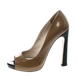 Miu Miu Two Tone Patent Leather Peep Toe Platform Pumps Size 38 143621