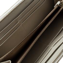 Bottega Veneta Off White Multicolor Print Intrecciato Nappa Leather Zip Wallet 144450