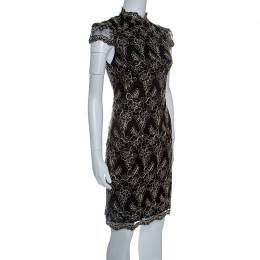 Alice + Olivia Black Floral Embroidered Tulle High Neck Marya Dress M 143004