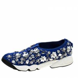 Dior Blue Mesh Fusion Floral Embellished Sneakers Size 41 144179