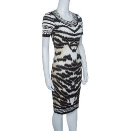 Roberto Cavalli Animal Printed Knit Short Sleeve Bodycon Dress S 144676