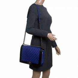 Chanel Blue/Black Quilted Leather Large Boy Flap Bag 143786