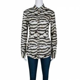 Just Cavalli Multicolor Animal Striped Cotton Long Sleeve Shirt M 139806