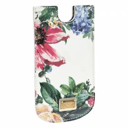 Dolce&Gabbana White Floral Print Patent Leather IPhone 5 Case